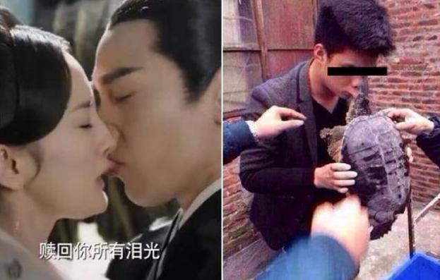 赵又廷咬唇激吻杨幂 网友晒了这张图神应景