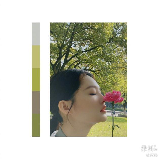 李沁绿洲分享春日美照 垂眸浅嗅花香尽显迷人侧颜