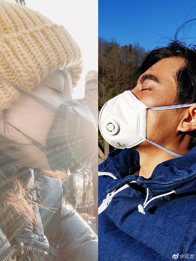 陈龙P图与爱妻戴口罩云kiss 喊话章龄之大撒狗粮