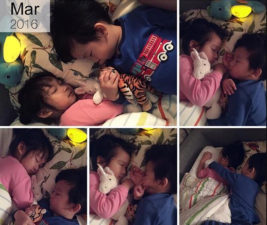 陈浩民妻子晒儿女萌照 姐弟俩相依入睡画面有爱