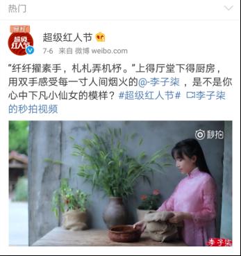 """2017最火网红""""古风美食第一人 李子柒"""