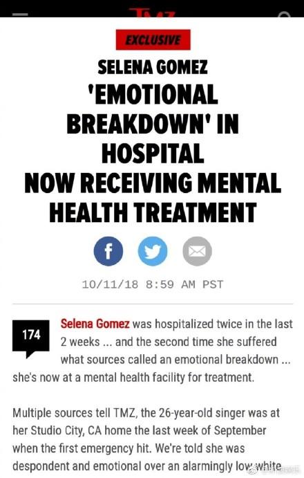 【美天棋牌】Selena赛琳娜被曝精神崩溃住院治疗