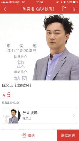 陈奕迅全新EP《放&披风》上线网易云音乐
