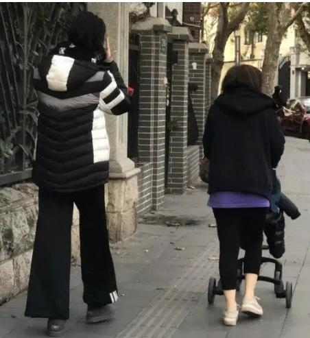 有网友晒出了一组近日在上海偶遇奚梦瑶带儿子何广燊散步的照片