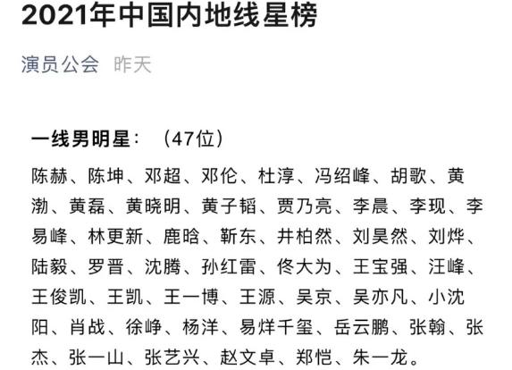 《【聚星平台网】有网友发现名为演员公会的账号发布了2021中国内地线星榜》