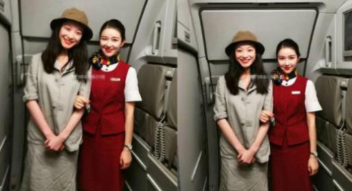 倪妮飞机上偶遇同名同姓空姐,两人合影倪妮竟然输给了她?